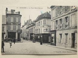 CPA - 02 - SOISSONS - La Place Saint-Gervais - Imprimerie  Librairie G. NOUGAREDE - - Soissons