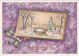 Bonne Année : à Systèmes Paillettes : Paysage Enneigé - ( C.p.s.m. M. - Grand Format ) - Nouvel An