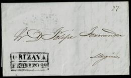 1848. VERACRUZ A MÉJICO. FECHADOR RECTANGULAR EN NEGRO DE ORIZAVA. MUY BONITA CARTA COMPLETA. - México