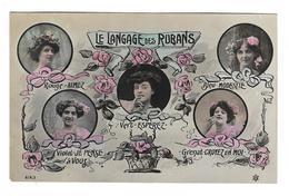 CPA FANTAISIE / LANGAGE DES RUBANS - JEUNES FEMMES - Fantaisies