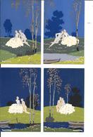 """G.MESCHINI - ART DECO / ARS NOVA - Lot De 4 Cartes Postales """"Série Complète"""" - Dipinta A Mano / Hand Painted - 2 Scans. - Illustrateurs & Photographes"""