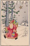 Santa Claus : Pére Noél - Partant Pour La Nuit : Carte à Système - Paillette Et Collage Amovible - ( 3 Scans ) - Santa Claus