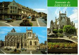 27 Louviers En 1988 Eglise Notre Dame Rue Foch Renault R17 Estafette R12 Citroën GS - Louviers