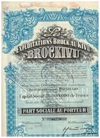 """Titre Ancien - Les Exploitations Brock Au Kivu """"BROCKIVU"""" - Société Congolaise à Responsabilité Limitée - Titre De 1932 - Afrique"""