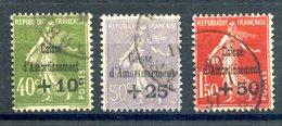 France N°275 à 277 - Caisse D'amortissement - Oblitérés - Cote 260€ - (F865) - Used Stamps