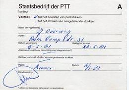 9 V 81   Verzoek Tot Het Bewaren Van Poststukken  REUVER (bijschrift 25 Ct Te Weinig Ontvangen) - Storia Postale
