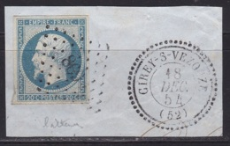 France N°14A (Napoleon 20c.  Bleu Laiteux) Sur Fragment Obl CIREY Sur VEZOUZE + PC869 - 1853-1860 Napoleone III