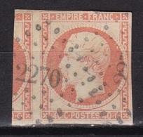 France N°16 (Napoleon 40c. Orange) Avec Voisin + PC2270 - 1853-1860 Napoleone III