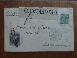 REGNO - Busta Con Francobollo Croce Rossa Spedita A Losanna - Annulli Retro + Spedizione Raccomandata - 1900-44 Vittorio Emanuele III