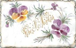 VIVE SAINT NICOLAS CARTE AVEC FLEURS PEINTE A LA MAIN - Saint-Nicholas Day