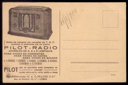 Postal Publicitario PILOT RADIO - C.A.Cardoso Rua Da Victoria LISBOA Portugal. Vintage Advertising Postcard - Lisboa