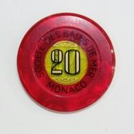 MONACO - SOC.té Des BAINS De MER - CHIP / FICHE / TOKEN Da 20 - Casino