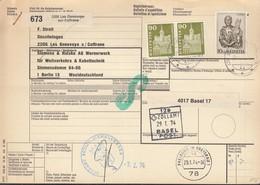 SCHWEIZ Paketkarte Mit 709, 740 MiF, Les Geneveys-sur-Coffrane Nach Berlin, Versch. Zollamtsstempel 1974 - Schweiz