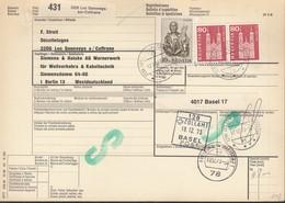 SCHWEIZ Paketkarte Mit 708, 740 MiF, Les Geneveys-sur-Coffrane Nach Berlin, Versch. Zollamtsstempel 1973 - Schweiz