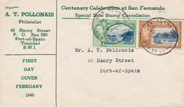 Trinidad & Tobago  / SAN FERNANDO  -   18.2.1946 ,  Georg VI.   -  FDC Nach PORT OF SPAIN - Trinidad & Tobago (1962-...)