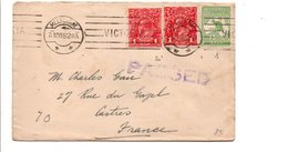 AUSTRALIE AFFRANCHISSEMENT COMPOSE SUR LETTRE DE MELBOURNE POUR LA FRANCE 1951 - Postmark Collection