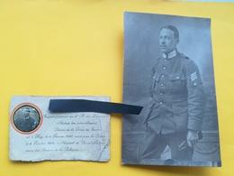HUY LIÈGE BELGIQUE SERGENT FOURRIER  2e RÉGIMENT LANCIERS IDENTIFIÉ MORT GUERRE 1914 - 1918 CARTE PHOTO + C. MORTUAIRE - Oorlog, Militair