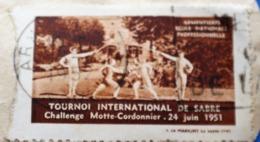 ARMENTIÈRES 1951 TOURNOI INTERNATIONAL DE SABRE CHALLE MAÎTRE CORDONNIER Vignette-Erinnophilie,Timbre,stamp,Bollo-Viñeta - Sports