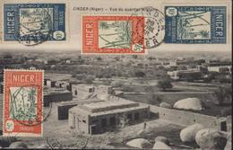 YT 32 X2 + 33 X2 NIGER CPA ZINDER (Niger) Vue Quartier Militaire Zinder 28 Avril 38 Flamme Coeur Afrique Visitez Zinder - Niger (1921-1944)