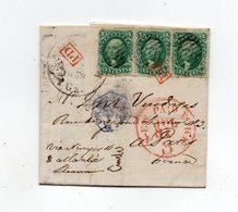 !!! ETATS UNIS, 3 EX DU N°13 SUR LETTRE DE SAVANAH POUR PARIS DE 1858. CERTIFICAT ROUMET - Cartas