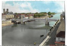 CPSM  Dentelée  De  CHALON Sur SAONE  (71)  -  Pont St-Laurent, Quais De Saône Et Cathédrale St-Vincent  //  TBE - Chalon Sur Saone
