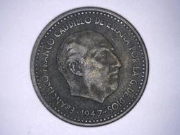 1947 - Espagne - Spain - UNA PESETA, ETOILE 52 - [ 4] 1939-1947 : Gobierno Nacionalista