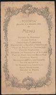 MENU ,, POTENTIA ,, BRUXELLES LE 4 DEC 1904    20 X 11.5 CM - Menus