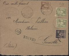 Devant De Lettre Chargée Pour 10 000 Frs YT Sage 80 + 97 + 82 X2 CAD Paris R De Grammont 16 Fev 99 - Marcophilie (Lettres)