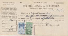 Algérie Timbres Fiscaux Sur Quittance De Loyer 1956 - Algeria (1924-1962)