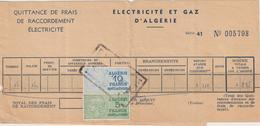 Algérie Timbres Fiscaux Sur Quittance De Frais De Raccordement électricité 1955 - Algeria (1924-1962)