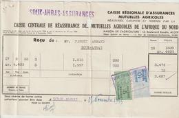 Algérie Timbres Fiscaux Sur Quittance Assurances Mutuelles Agricoles 1955 - Algeria (1924-1962)