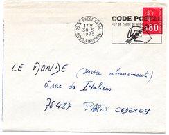 FINISTERE - Dépt N° 29 = BREST NAVAL 1975 = FLAMME à DROITE = SECAP Illustrée  'CODE POSTAL / MOT DE PASSE ' - Zipcode