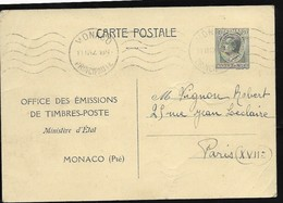 Monaco Carte Postale Louis II . Repiquée Office Des Emissions De Timbres. 0blitérée 1942. - Entiers Postaux