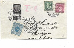 LE 0525 N° 302-324 + TP Allemand 483 KITTNITZ (KR. LEIPA/SUDETENLAND) 20.10.38 S/L. (coupée En Bas) V. Ehusice - TTx 1 K - Czechoslovakia