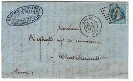 FRANCE 1867: LAC Du 1.X.68 D'Arras Pour Chatellerault (Vienne) Avec Le Y&T 29A Obl. GC174 (Ind.1) - 1871-1875 Cérès