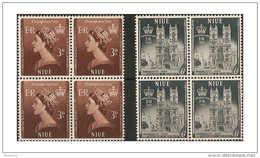 NIUE 1953 CORONATION SET IN UNMOUNTED MINT BLOCKS OF 4 SG 123/124 - Niue