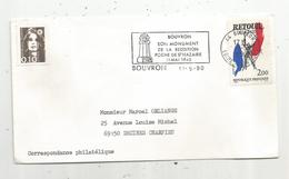 Flamme , BOUVRON , Son Monument De La Reddition , Poche De St Nazaire , 1945 , BOUVRON , 1990 - Marcophilie (Lettres)