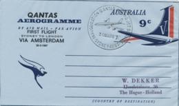 Australia - 1967 - 9c Qantas Aerogramme - First Flight Sydney - London Via Amsterdam - To The Hague - Aérogrammes
