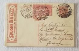 "Cartolina Postale Espresso Pubblicitaria ""Spugne Pirelli"" Da Modena Per Ferrara - 03/12/1923 - Ganzsachen"
