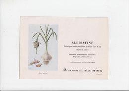 Vloeipapier / Buvard - Allisatine (Allium Sativum)  - Sandoz S.A. Bâle Suisse - Produits Pharmaceutiques