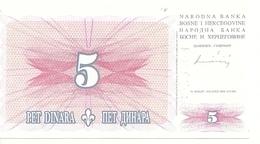 BOSNIE HERZEGOVINE 5 DINARA 1994 UNC P 40 - Bosnie-Herzegovine