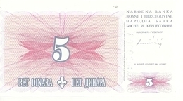 BOSNIE HERZEGOVINE 5 DINARA 1994 UNC P 40 - Bosnië En Herzegovina