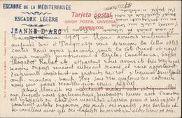 Marine 1907 CP Tanger Cachet Escadre De La Méditerranée Escadre Légère Jeanne D'Arc - Marcophilie (Lettres)