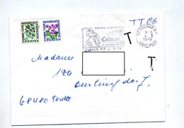 Lettre Flamme Colmar Vignoble Taxee Fleur - Postmark Collection (Covers)