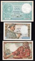 FRANCE: Beau Lot De 3 Billets: N°7 (10F Minerve), N°8 (10F Mineur), N°13 (20F Pêcheur), 1939/1944 - Non Classificati