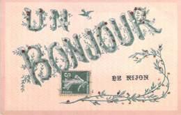 52 - NIJON : Un Bonjour De ... Jolie CPA Fantaisie Avec Paillettes Inscrustées Dans Les Lettres - Haute Marne - Autres Communes