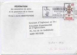 France N° 2380 Y. Et T. Vienne Poitiers Centre De Tri Flamme Illustrée Du 13/11/1985 Sur Lettre - Marcofilia (sobres)