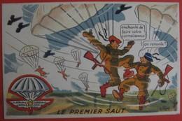 Illustrateur PETIET - Humour Militaria Parachute - LE PREMIER SAUT - Humour