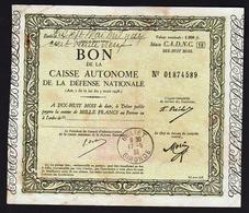 Bon De 1000F De La Caisse Autonome De La Défence Nationale. Cachet à Date: Beliet 17/05/1939 - Tesoro