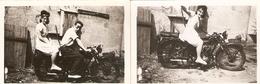 Lot De 2 Photographies Anciennes De Moto Biplace, Couple à Lormont (33), Clichés De L'été 1945 - Cars